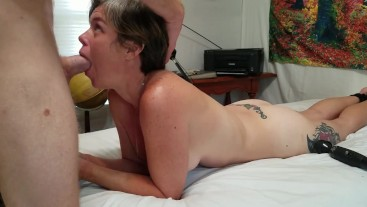 Getting facefucked hard while using a magic wand vibrator on his balls till he cums on my face
