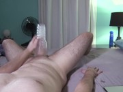 Hot guy moans and fucks his fleshlite for a dripping cumshot