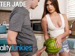 Reality Junkies - Kinky Step sister Winter Jade walks in on Step bro and his Huge Cock