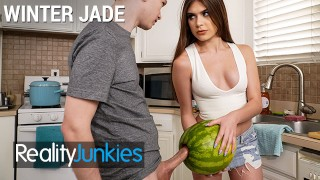 Reality Junkies – Kinky Step sister Winter Jade walks in on Step bro and his Huge Cock