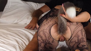 Ordered a foxtail escort call girl online to fuck her hard in her crotchless bodystocking lingerie