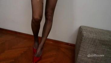 Fishnet Stockings High Heels Dangling Hot Legs Preview