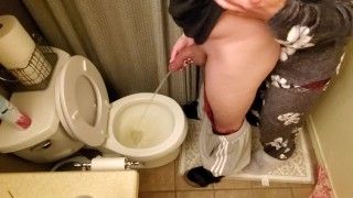 Holding my boyfriend's cock while he pees in the toilet | long pee | taking care of my man
