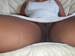 Upskirt Candid Latina Ebony No Panties Filmed Under the Table Teasing Cameltoe View