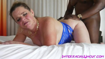 BBW milf mandie maytag takes 10 inch Big black dick in her tight white asshole
