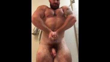 Beefy Bodybuilder Naked Flexing Semi Hard Hung Dick Balls OnlyfansBeefBeast Hot Musclebear Posing