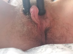 Kinky disabled sex freak fucks self with tripod