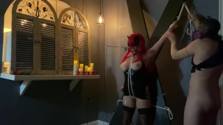 amateur couple bdsm first time rope bondage on st andrew's cross