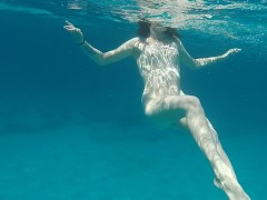 Teen swims naked, dances and sucks dick in nature! Part 2.