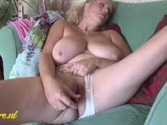 British MILF Playing with her Huge Natural Tits