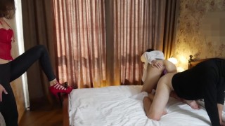 Young Couple Double Dildo Lesson.Part 2.Mary Cherry