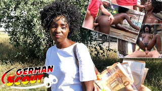 GERMAN SCOUT – BLACK EBONY MILF ZAAWAADI | REAL PUBLIC PICKUP SEX | HAIRY PUSSY ROUGH