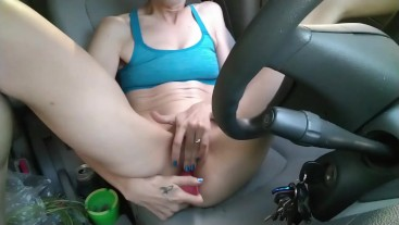 Masturbating in the car with a 2 pound weight