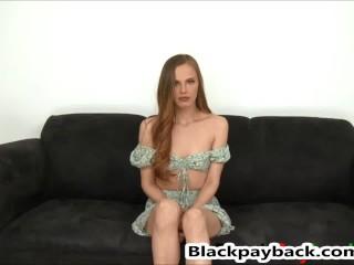 Beautiful babe enjoys a big black cock down her throat