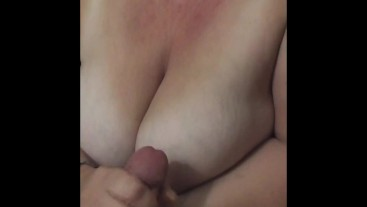 Working His Cock Up To A Cumshot Over My Big Tits