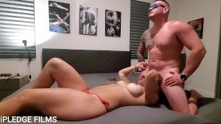 Hot MILF sucks balls and gets prone boned hard, while talking dirty.