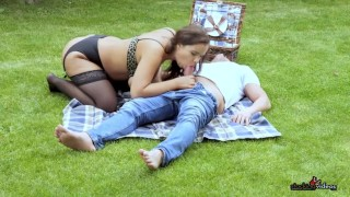 Sofia Lee fucks this guy in the park while you watch!