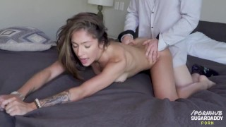 Skylar Angel Sucks The Soul Out Of Her Daddy And Smiles When He Showers Her With Cum