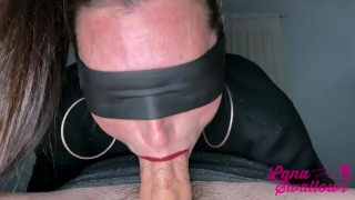 She struggles to deepthroat, but that doesn't stop him from cumming all the way down her throat