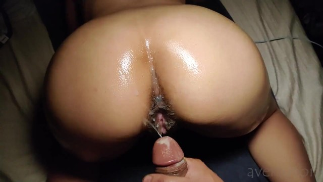 Horny asian babe gets oiled up for backshots and a cumshot