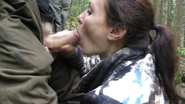 sucked in the forest and got cum on face