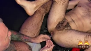 Tattooed Silver Fox destroys boyhole fucks him with monster horse cock dildo