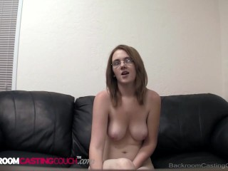 Geeky 4 Eyed Teen Morgan Gets Her Ass Pussy & Mouth Fucked In Interview!