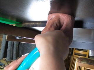 """""""The Milking Table"""" Cock massaged, foot rubbed, edged, spanked, oiled, vibrated and drained (CBT)"""