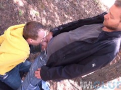 Young Guy Sucks Off Hot Daddy in the Woods - Eat That Cum!