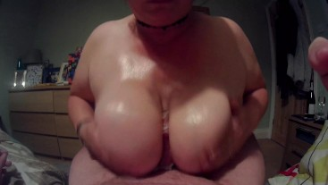 Paying Off A Bill With My Huge Oiled Tits