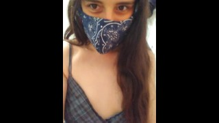 Cute Dress Nasty Gross Facemask Fetish Hairy Pussy Camgirl Pees Toilet & Uses Face Mask Toilet Paper