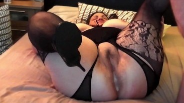 Fishnets On For A Finger Fucking And Creampie
