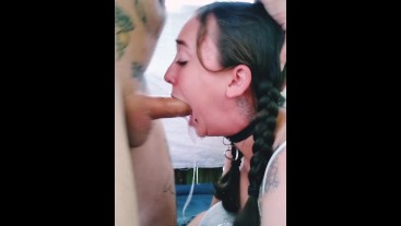 Cuties deepthroats huge dick for THROAT PIE on her belly