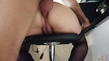 Fucking anal bitches hard on a bar stool and cumming in the ass