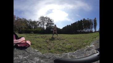 Nude Hula Hooping in a random backyard 180 VR Virtual Reality 3D