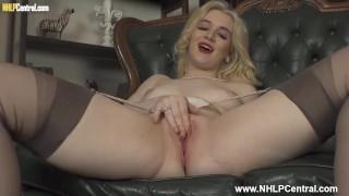 Retro blonde babe Lana Harding wanks off in vintage nylon stockings and garters