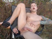 Playing with big dildo, intense anal in risky spot outdoors and in public