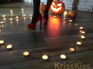Hot sex with a horny witch on halloween night