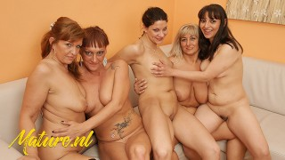 MatureNL 4 Mature ladies & 1 Teen Having a Kinky Lesbian Party