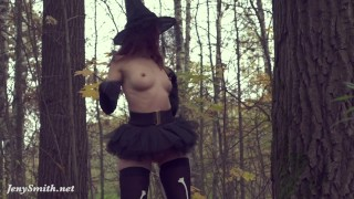 Take off my Halloween costume. Jeny Smith naked in forest