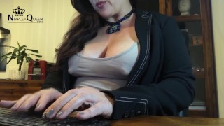 Fat nipples in the office
