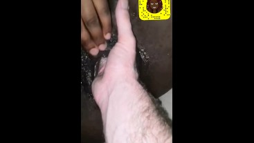 Young black french slut enjoys being fisted like a bitch by a white guy