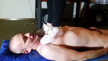 Hard Mistress Trampling her Slave with no Mercy