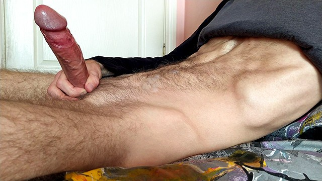 Solo Guy Jerks Off Big Dick In The Room And Moans Loud - 4K