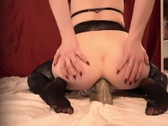 Slutty Nun Worships Cock with her Pussy and Ass