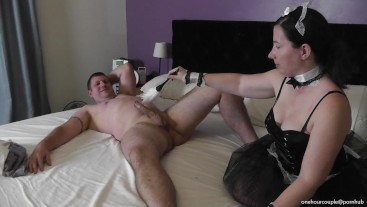 HAPPY HALLOWEEN! WIFE IN A SEXY FRENCH MAID COSTUME! MADE HUBBY CUM TWICE!