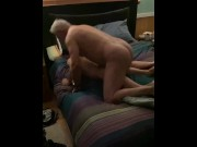 Mature daddy fucks twink boy bare till they both cum