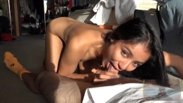 Eye Contact BJ with Creampie Quickie