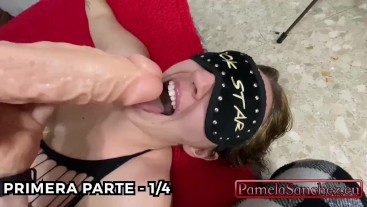 Submissive hot wife at the command of her horny friend