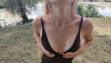 French girl has fun in nature